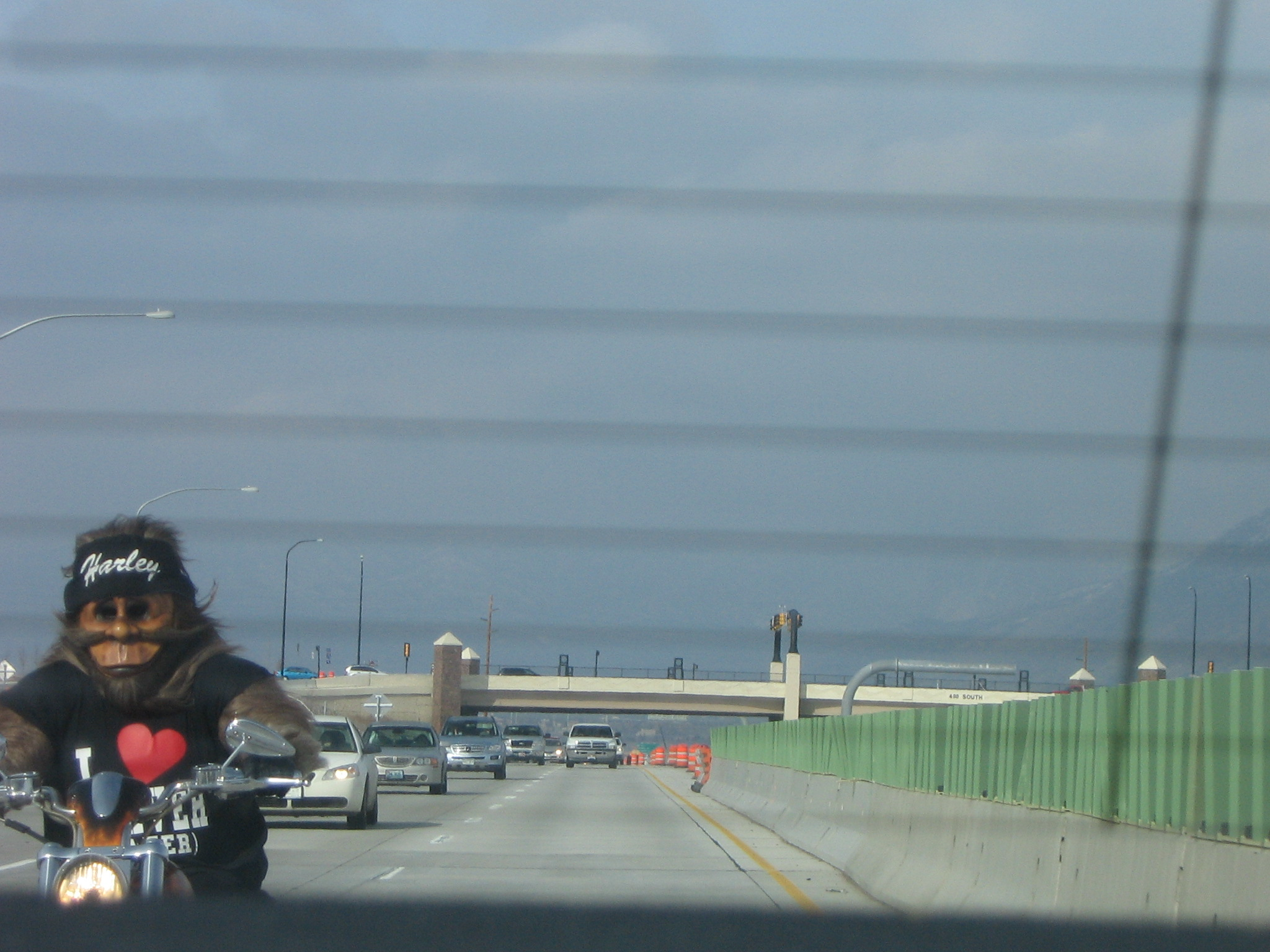 Another angle of chewbacca riding a motorcycle.