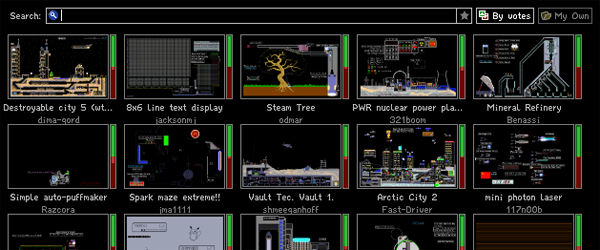 A list of projects in the browsing UI, including: Destroyable city 5, 8x6 line text display, Steam Tree, PWR nuclear power plant, Mineral Refinery, Simple auto-puffmaker, Spark maze extreme, Vault 1, Arctic city 2, and Mini photo laser