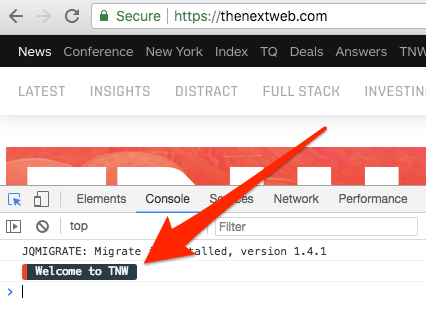 Image of a message in the console at thenextweb.com