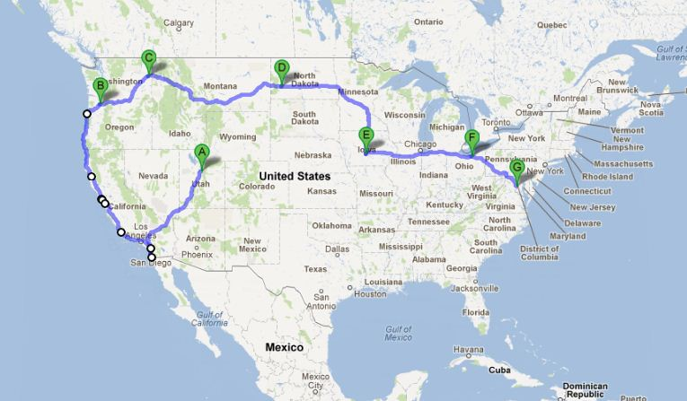 A map of our trip across the US