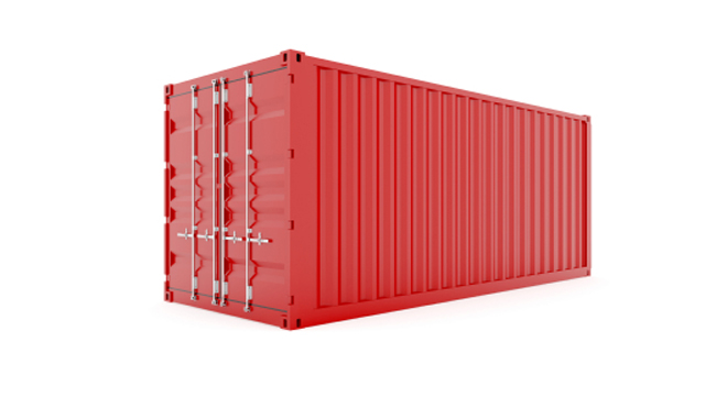 An intermodal shipping container.