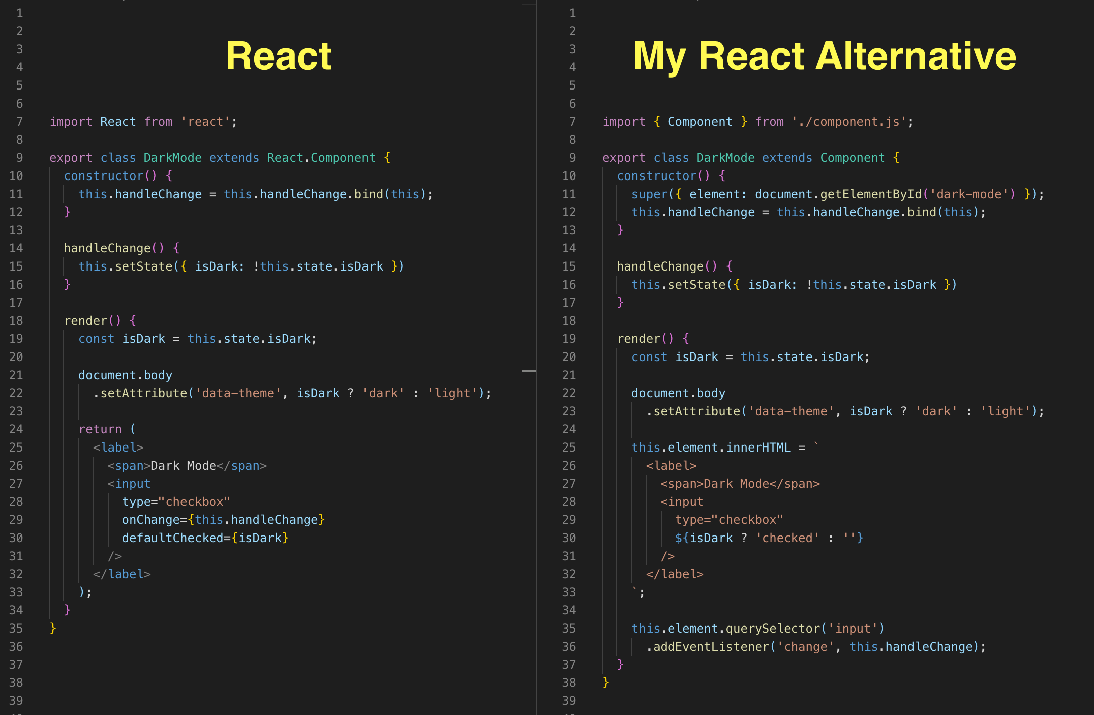 A split-screen comparing the code of a React component to a React-alternative component.