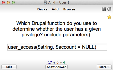 Which Drupal function do you use to determine whether th user has a given privilege? (Include parameters)