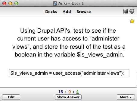 Using Drupal APIs, test to see if the current user has access to 'administer views' , and store the result of the test as a boolean in the variable $is_views_admin.