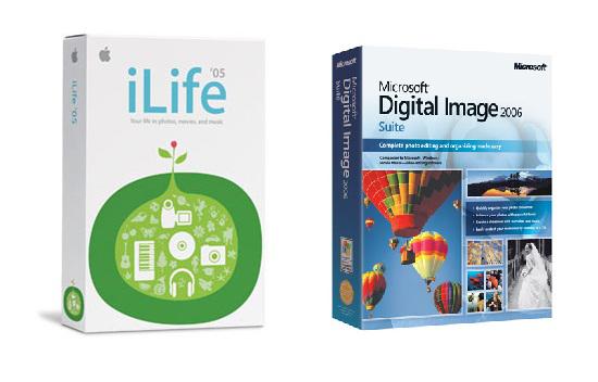 An Apple software package (iLife) placed side-by-side with a less attractive Microsoft alternative (Microsoft Digital Image Suite)