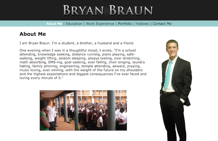Screenshot of bryanbraun.com, version 1