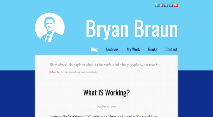 Screenshot of bryanbraun.com, version 3