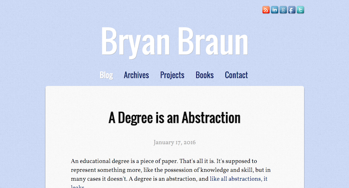Screenshot of bryanbraun.com, version 4