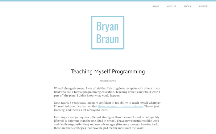 Screenshot of bryanbraun.com, version 5