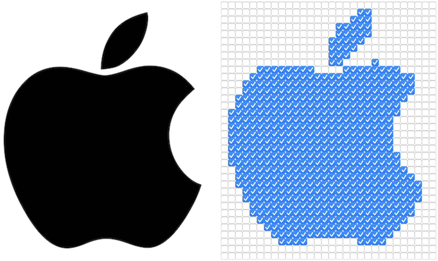 The Apple logo displayed side-by-side with an html checkbox version