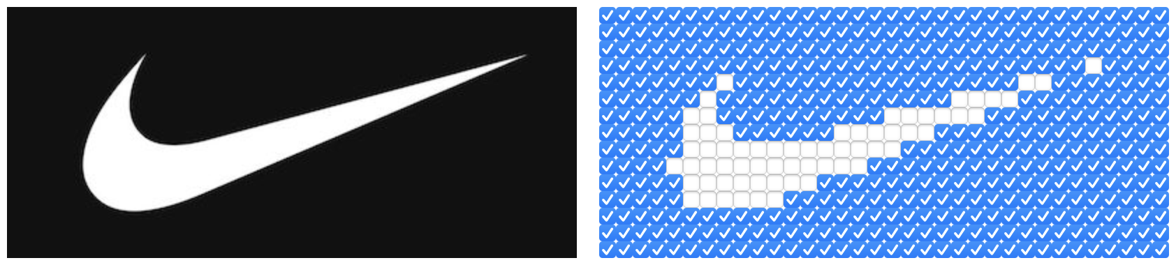 The Nike logo displayed side-by-side with an html checkbox version