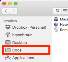 The code folder in the favorites bar