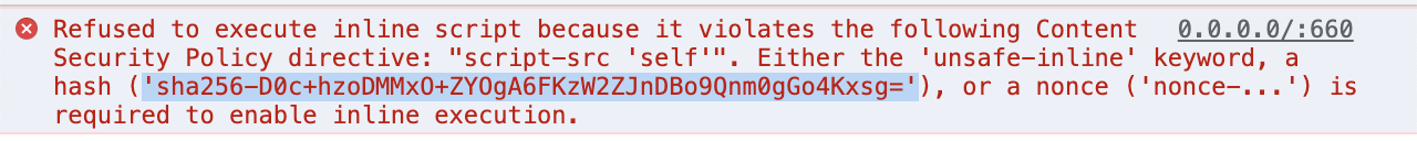 Selected hash in a Content Security Policy error message