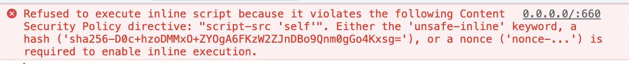 Error message from an inline script violating a Content Security Policy