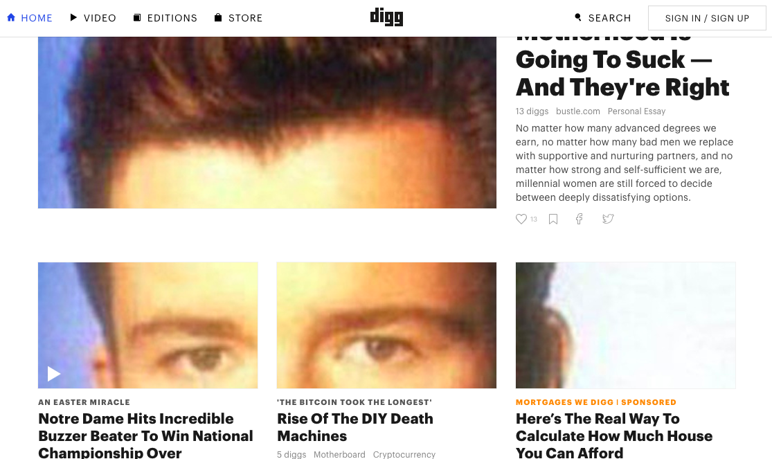 Image of the Rick Astley Easter egg on Digg.com
