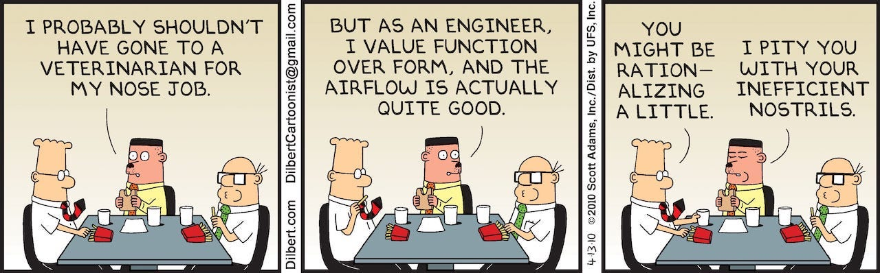 Dilbert comic: Function over Form