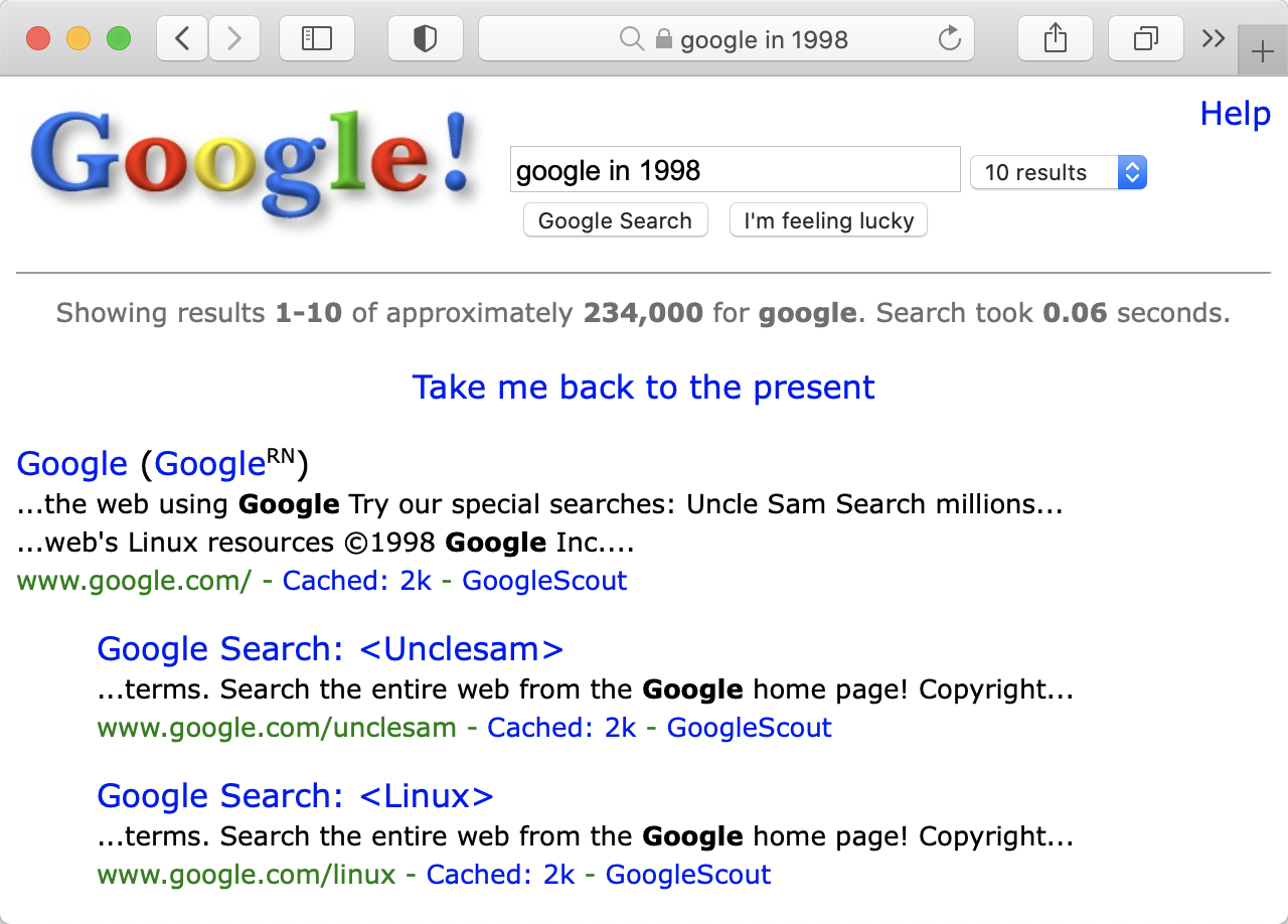 Image of the search results for 'google in 1998'.