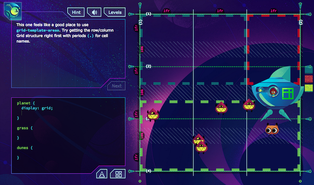A screenshot from Dave's 'Grid Critters' course