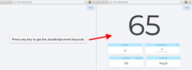 Screenshots from the website keycode.info