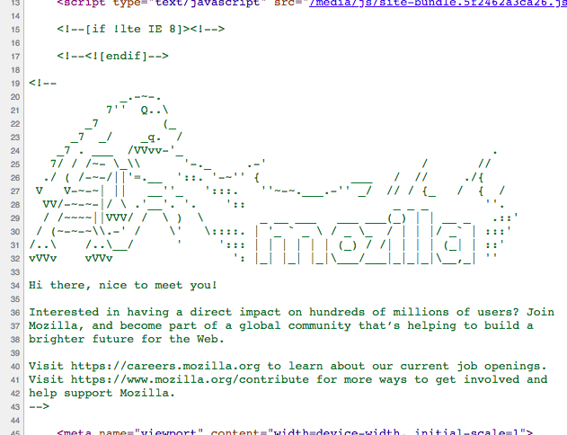 Image of comments in the source code of mozilla.com