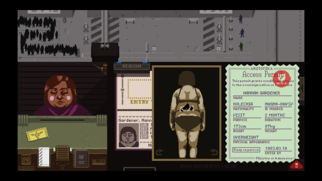 A scene from the game Papers, Please?