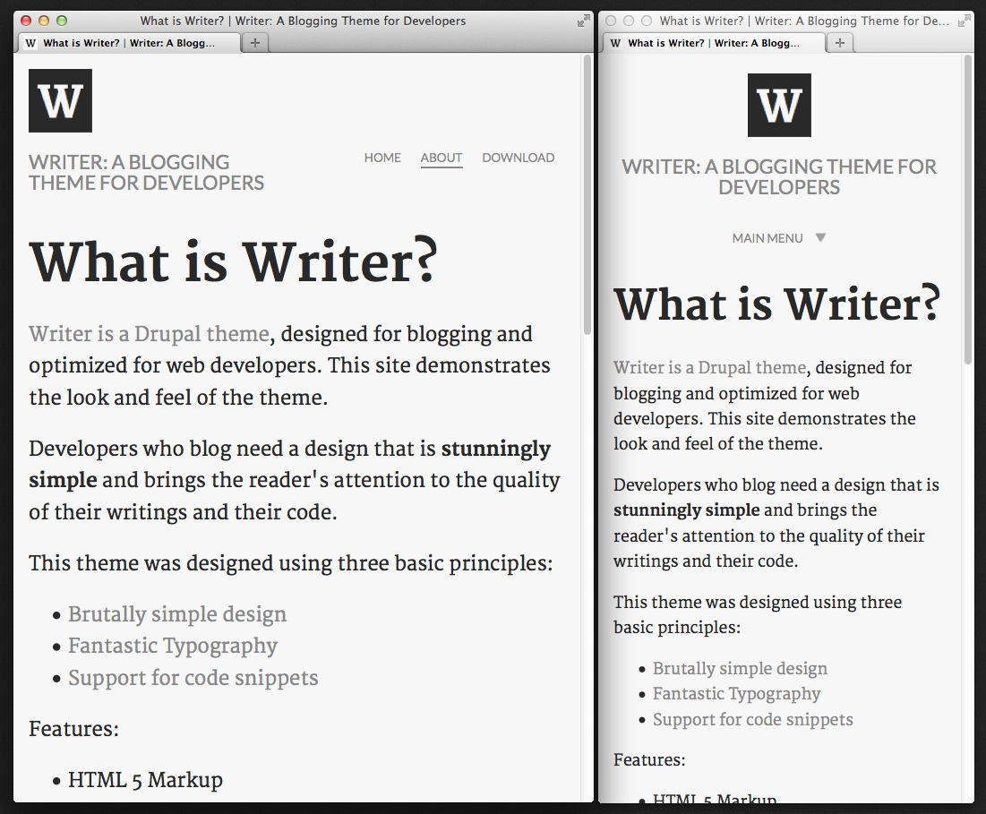Writer: A Drupal Blogging Theme for Developers